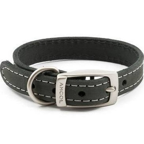 Front - Ancol Timberwolf Leather Collar