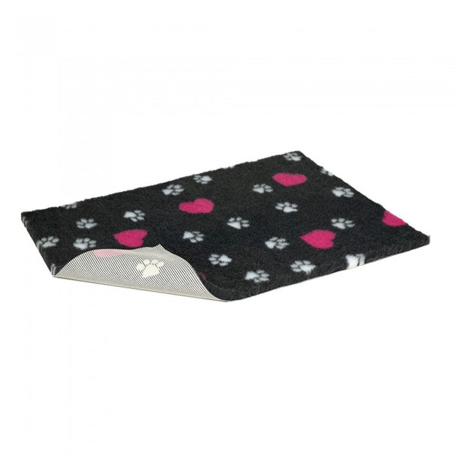 Front - Petlife Vetbed Charcoal & Cerise Hearts Dog Bed