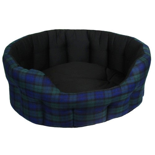 Front - P&L Superior Premium Oval Softee Tartan Design Dog Bed