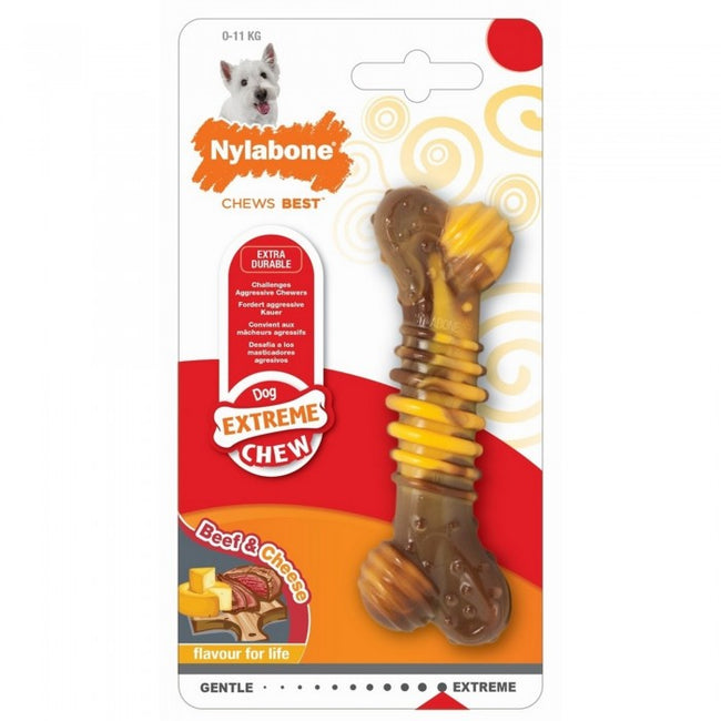 Front - Interpet Limited Nylabone Extreme Chew Textured Bone Beef And Cheese Flavour Toy (Assorted Colours) - ASRTD