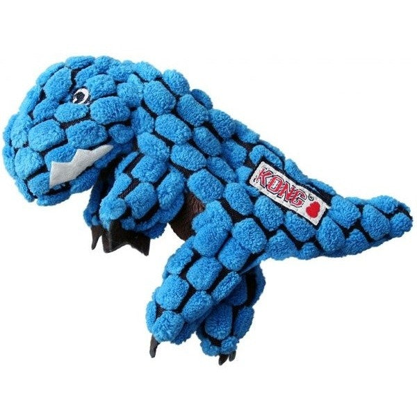 Blue - Front - KONG Dynos T-Rex Dog Toy