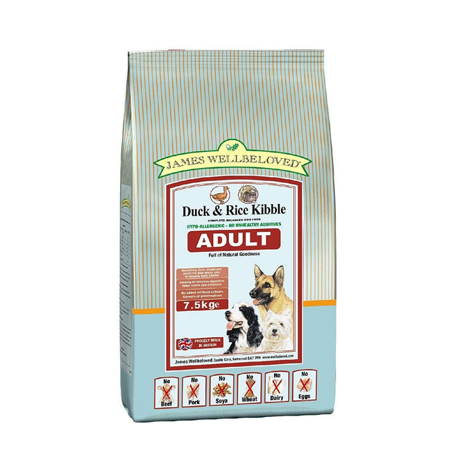 May Vary - Front - James Wellbeloved Adult Duck And Rice Hypoallergenic Complete Dry Dog Food