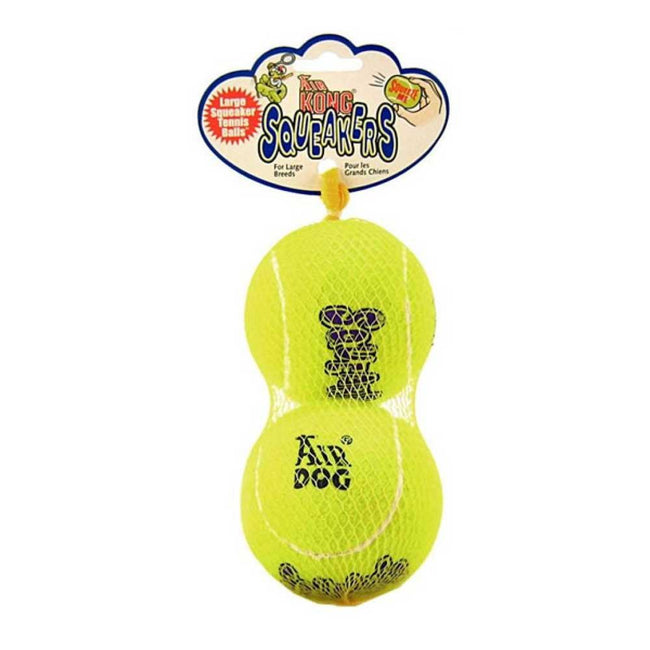 Fluorescent Green - Front - KONG Air Squeaker Large Tennis Ball Dog Toys (Pack Of 2)
