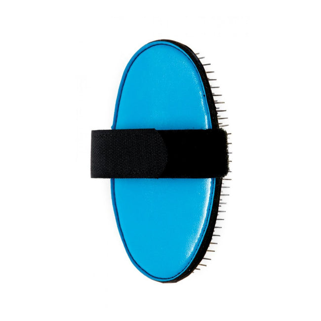 Blue - Front - Ancol Flexible Palm Pin Dog Brush