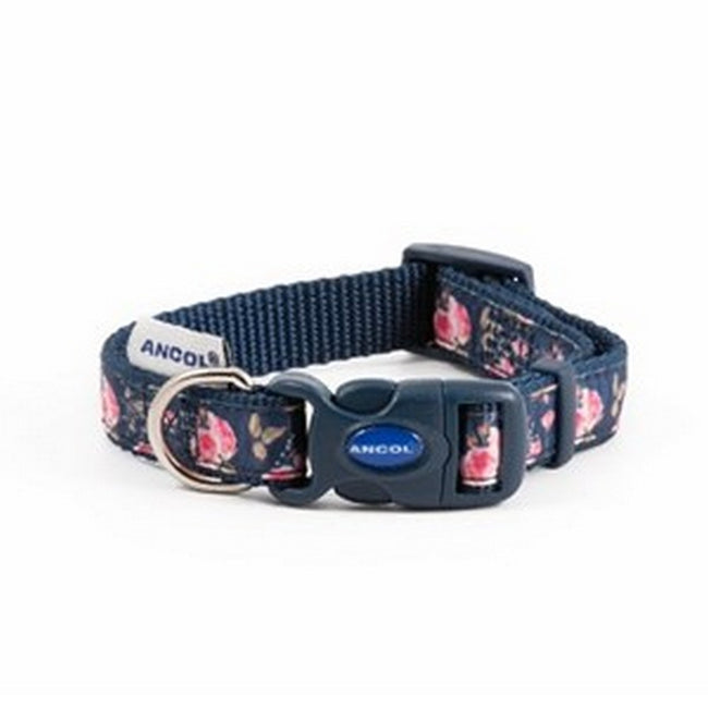 Navy Rose - Front - Ancol Nylon Navy Rose Adjustable Dog Collar