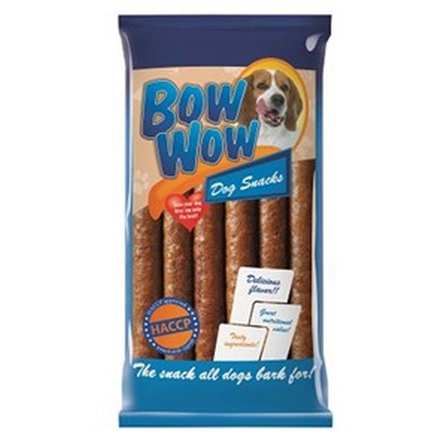 Bacon - Front - Bow Wow Bacon Pudding Stick Dog Treats (Pack Of 6)
