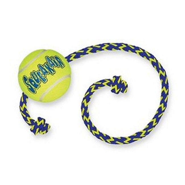 Green-Blue - Back - KONG SqueakAir Ball With Rope Dog Toy