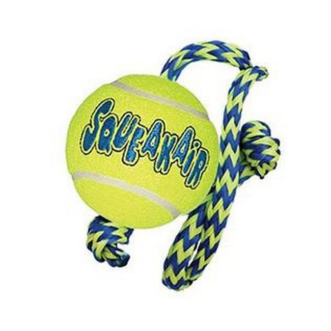 Green-Blue - Front - KONG SqueakAir Ball With Rope Dog Toy