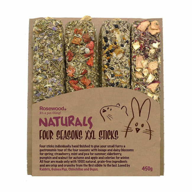 Four Seasons - Front - Rosewood Naturals Small Animal Four Seasons Stick Treats (Pack of 4)