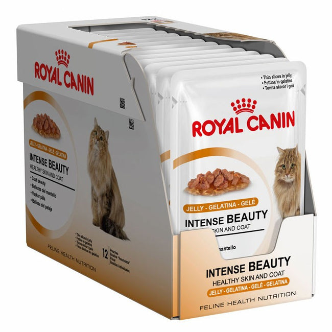 Fish-Meat - Front - Royal Canin Intense Beauty In Jelly Wet Cat Food (Pack of 12)