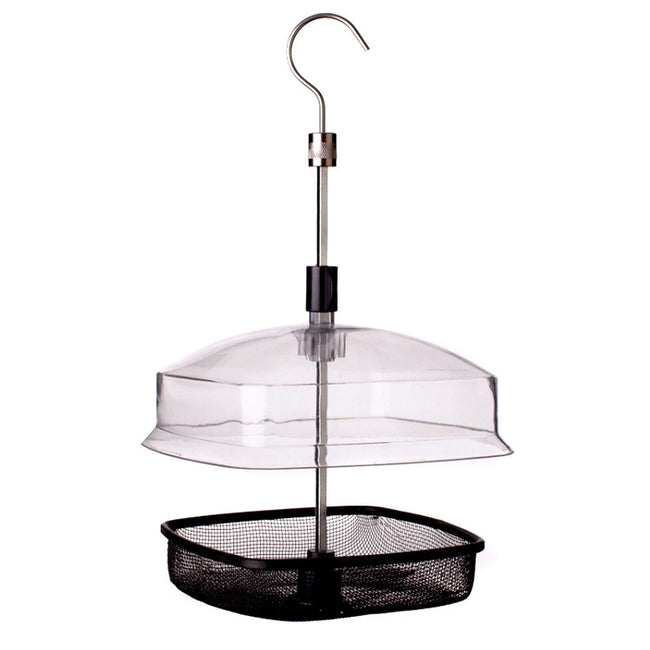 Black-Silver - Front - Johnston & Jeff Hanging Bird Feeder Basket With Lid