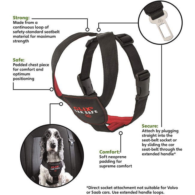 May Vary - Back - Clix CarSafe Dog Seatbelt Harness