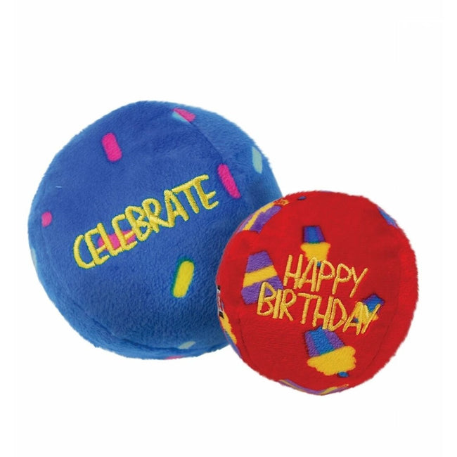 Blue-Red - Front - KONG Birthday Balls Dog Toys (Pack Of 2)