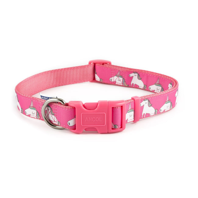 Pink-White - Front - Ancol Nylon Unicorn Dog Collar