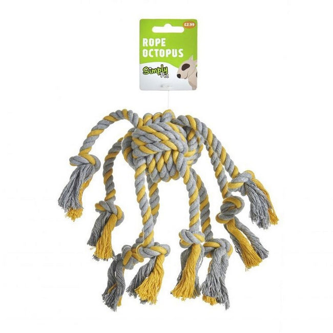 Grey-Yellow - Back - Sharples Rope Octopus Dog Toy