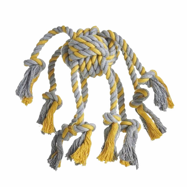 Grey-Yellow - Front - Sharples Rope Octopus Dog Toy