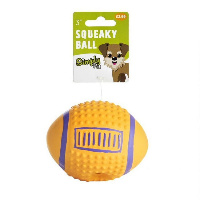 Yellow-Blue - Back - Sharples Squeaky American Football Dog Toy