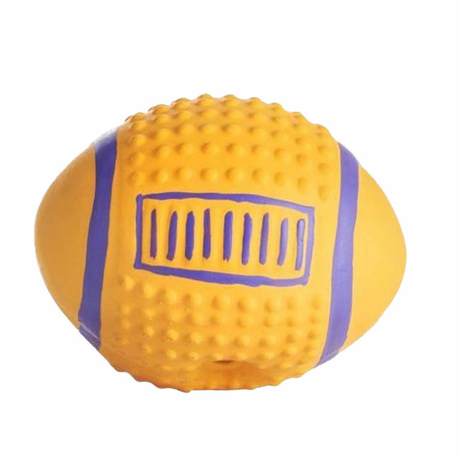 Yellow-Blue - Front - Sharples Squeaky American Football Dog Toy