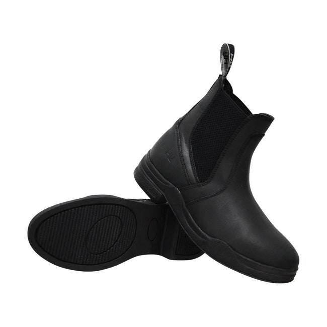 Black - Front - HyLAND Childrens-Kids Wax Leather Jodhpur Boots