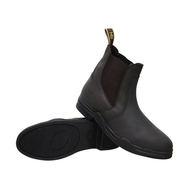 Brown - Front - HyLAND Childrens-Kids Wax Leather Jodhpur Boots
