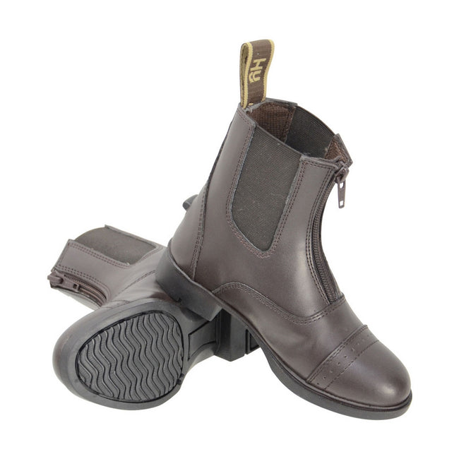 Brown - Front - HyLAND Childrens-Kids York Synthetic Combi Leather Zip Jodhpur Boots
