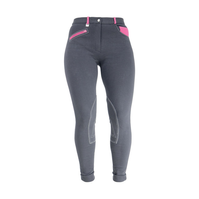 Charcoal-Pink - Front - HyPERFORMANCE Womens-Ladies Jean Look Jodhpurs
