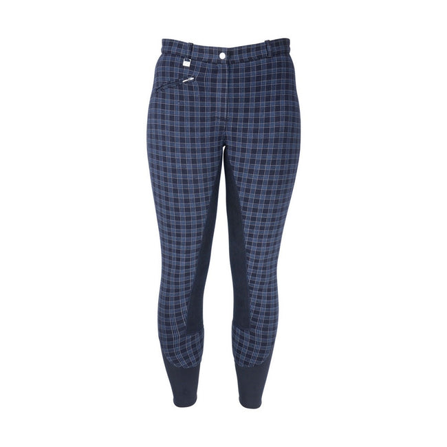 Navy Check - Front - HyPERFORMANCE Womens-Ladies Harby Breeches