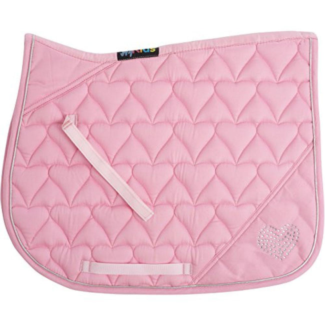 Pink-Silver Binding - Front - HySPEED Heart Diamante All Purpose Saddle Cloth