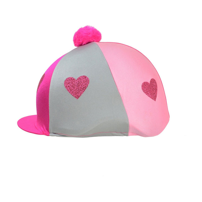 Pink-Light Pink - Front - Little Rider Love Heart Glitter Hat Cover