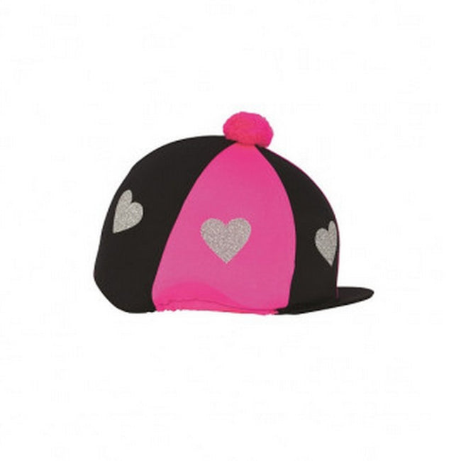 Hot Pink-Black - Front - Little Rider Love Heart Glitter Hat Cover