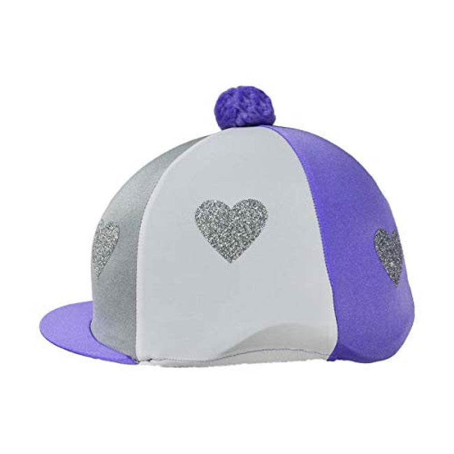 Lilac-Silver-White - Front - Little Rider Love Heart Glitter Hat Cover
