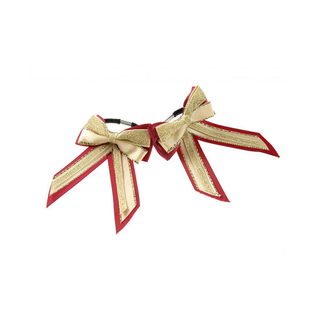 Burgundy-Cream-Gold - Front - ShowQuest Piggy Bow and Tails (Pair)