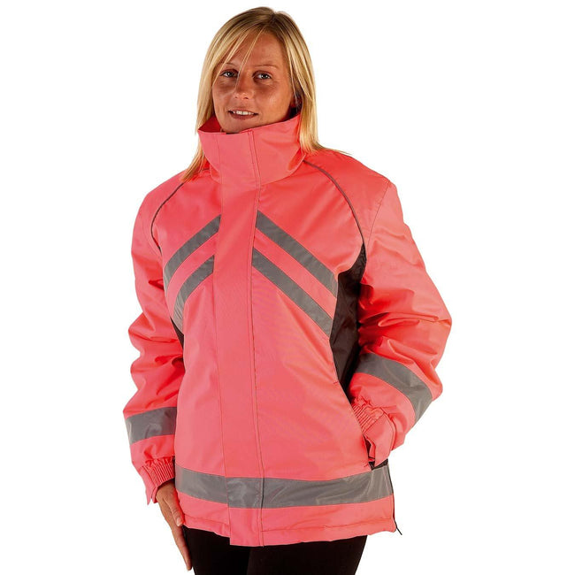 Pink-Black - Front - HyVIZ Adults Waterproof Riding Jacket