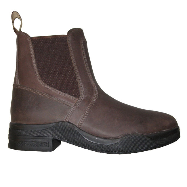 Brown - Back - HyLAND Adults Wax Leather Jodhpur Boots