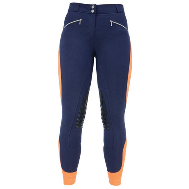 Navy-Orange - Front - HyPERFORMANCE Womens-Ladies Sports Active Leather Breeches