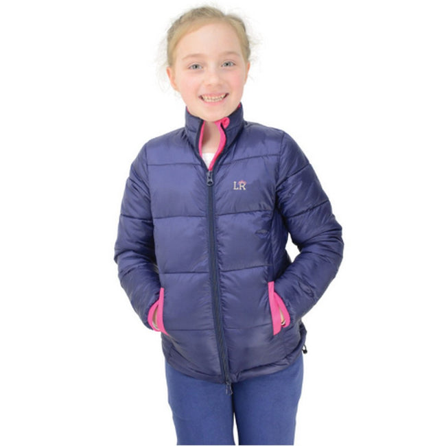 Navy-Pink - Front - Litttle Rider Girls Annabelle Padded Jacket