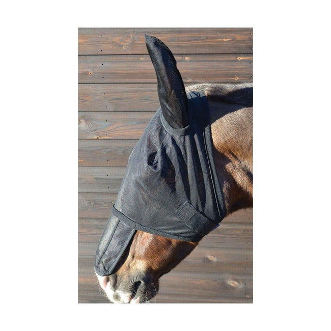 Black - Back - Hy Horse Fly Mask with Sunshield & Ears