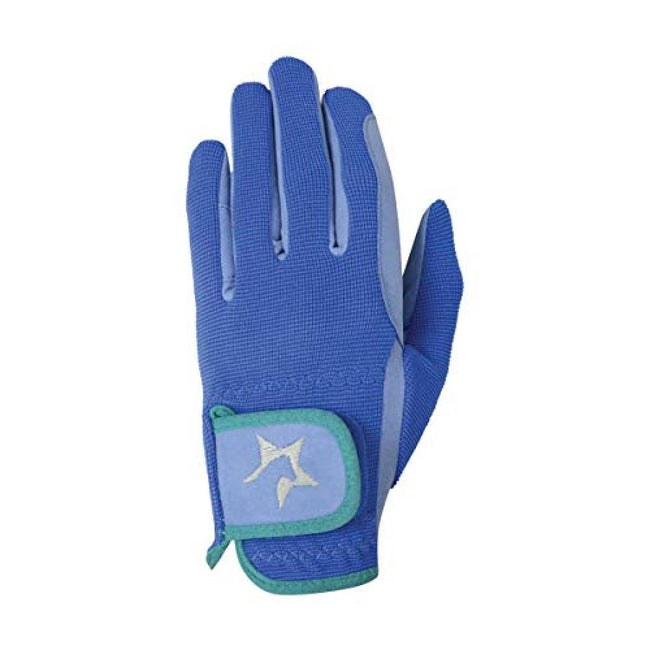 Cobalt Blue-Petrol Blue-Turquoise - Front - Hy5 Children-Kids Zeddy Riding Gloves