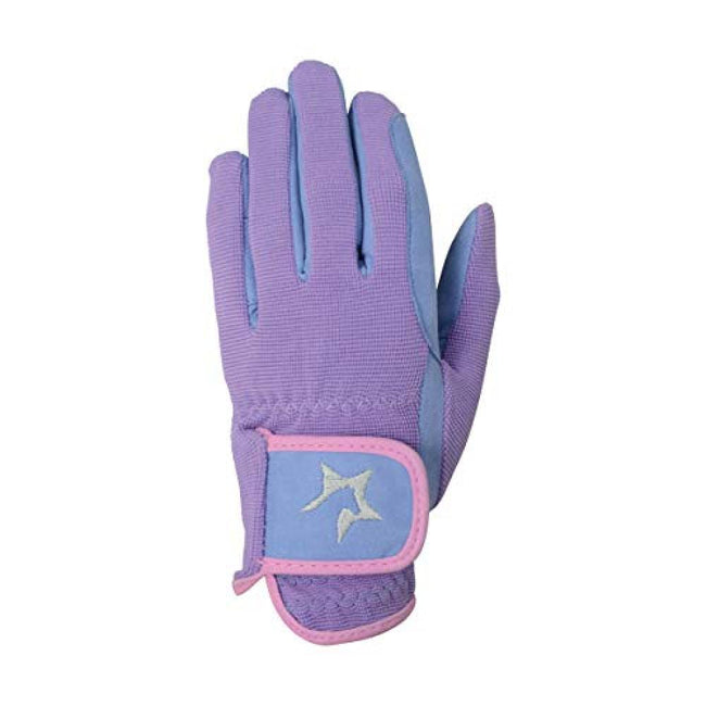 Floral Lavender-Petrol Blue-Pink Powder Blush - Front - Hy5 Children-Kids Zeddy Riding Gloves