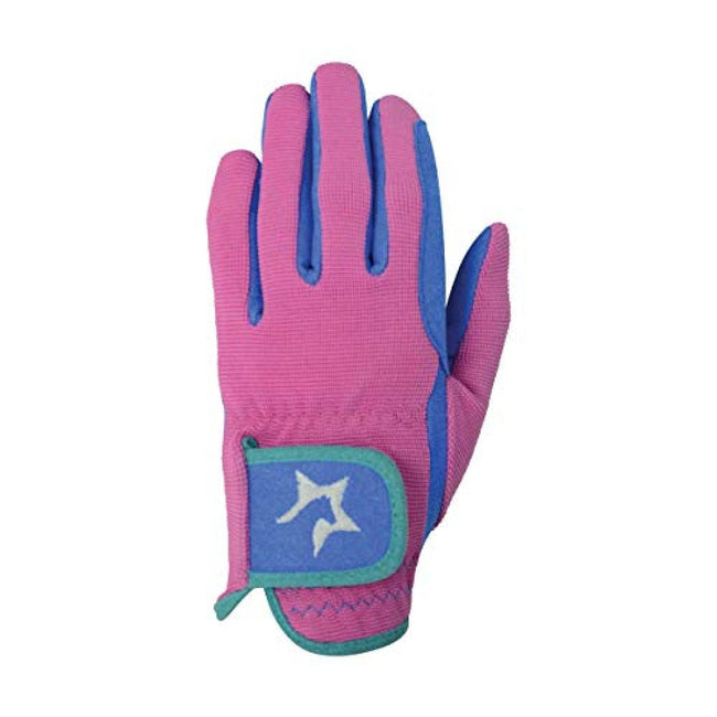 Flamingo Pink-Cobalt Blue-Turquoise - Front - Hy5 Children-Kids Zeddy Riding Gloves