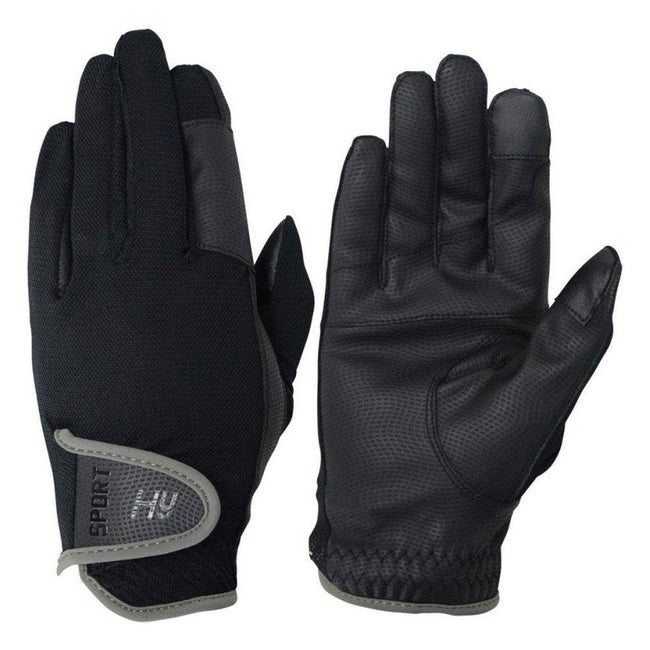 Black-Charcoal Grey - Front - Hy5 Adults Sport Dynamic Lightweight Riding Gloves