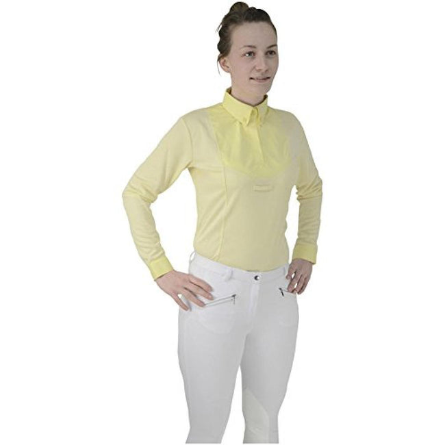 Yellow - Front - HyFASHION Womens-Ladies Dedham Long Sleeved Tie Shirt