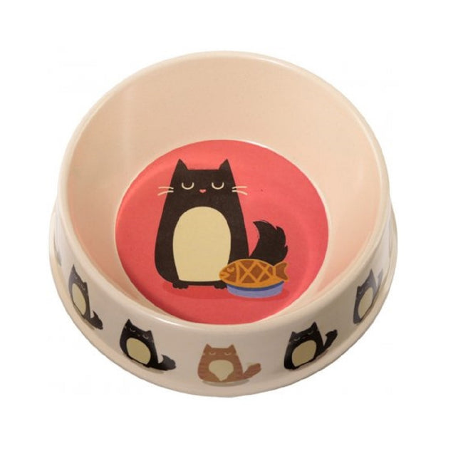 Cream-Red - Front - Bambootique Feline Fine Bamboo Cat Pet Bowl