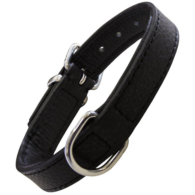 Black - Front - Gloria Drymilled Leather Dog Collar