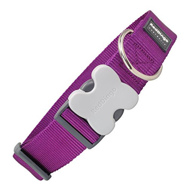 Purple - Front - Red Dingo Plain Extra-Wide Dog Collar