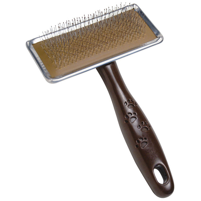 Brown - Front - Gloria Ball Pin Slicker Brush For Dogs