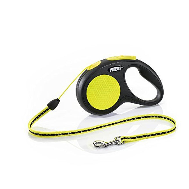 Yellow - Front - Flexi New Classic Neon Cord Dog Lead