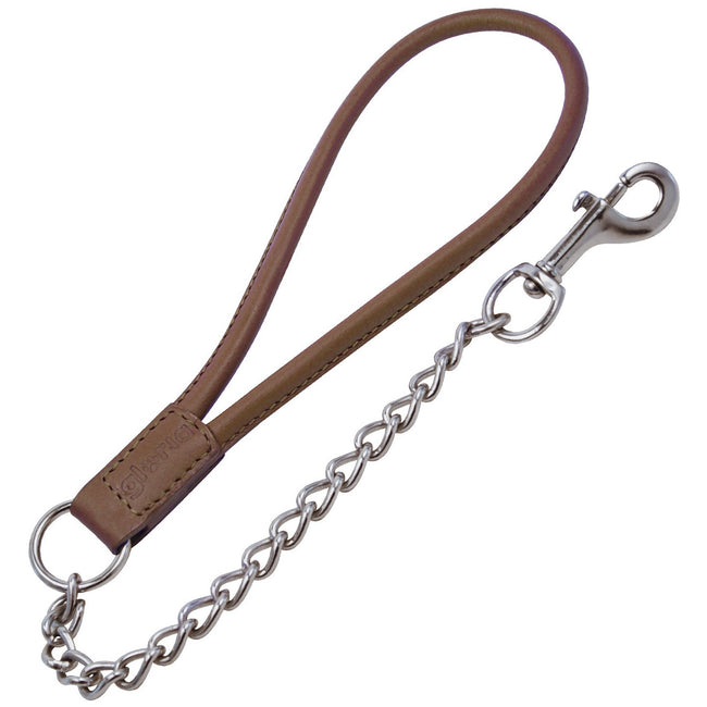 Brown - Front - Gloria Short Loop Leather Dog Lead With Chain