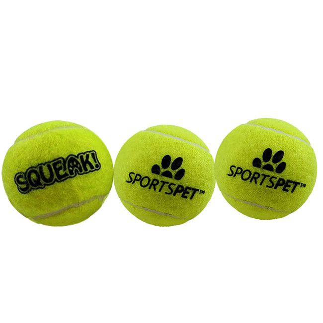 Yellow - Front - Sportspet Tennis Ball With Squeaker (Pack Of 3)