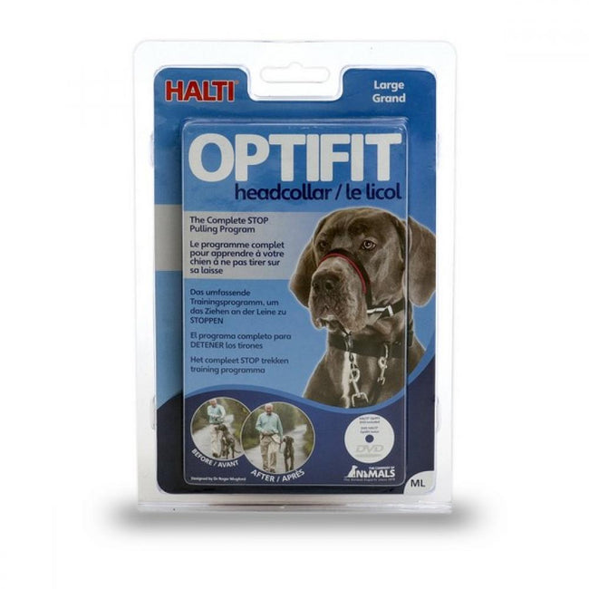 Black - Front - Company Of Animals Halti Optifit Dog Headcollar With Training DVD And Guide